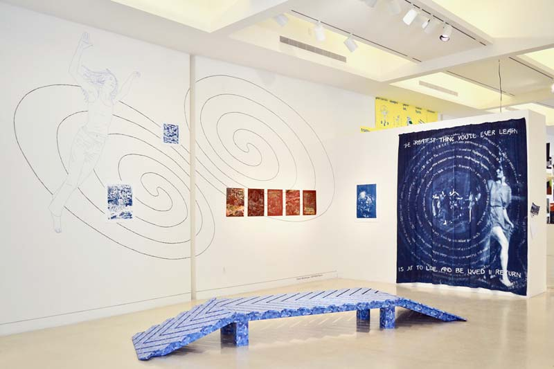 "Wall tape drawing by Patrick Huber, object by Megan Mueller and Sam Scharf, lithographs by Stephanie Guerrero, cyanotype curtain by Ute Lindner, cyanotypes on paper: ""Blue Notes"" project by COPYRIGHT, featuring works by LA artists Stephanie Guerrero, Megan Mueller and Sam Scharf. Photo: Emily Blythe Jones."