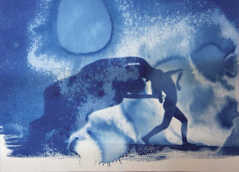 "Patrick Huber & Ute Lindner, ""Blue Notes - Original Kasia Gorczinska"", Originalfoto: Rafal Gorczinski, 2016, Cyanotypie"